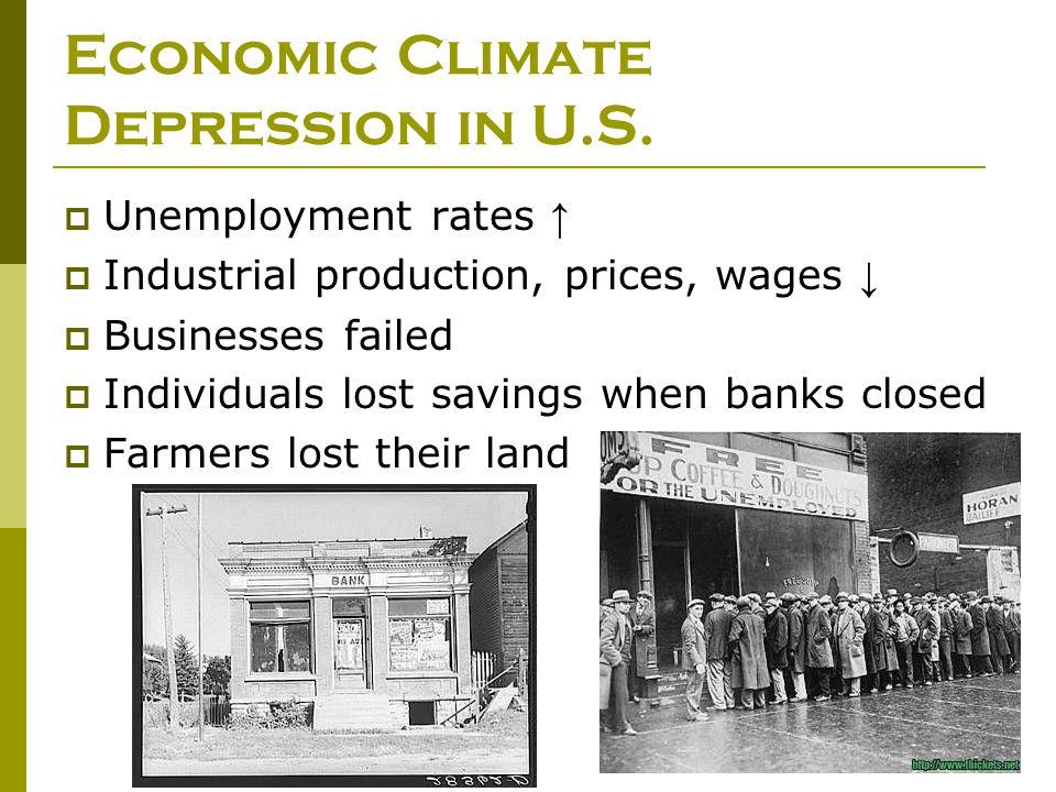 Economic Climate Depression in U.S.