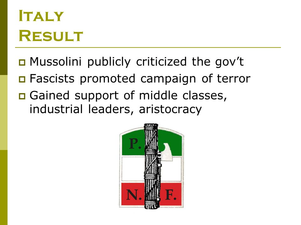 Italy Result Mussolini publicly criticized the gov't
