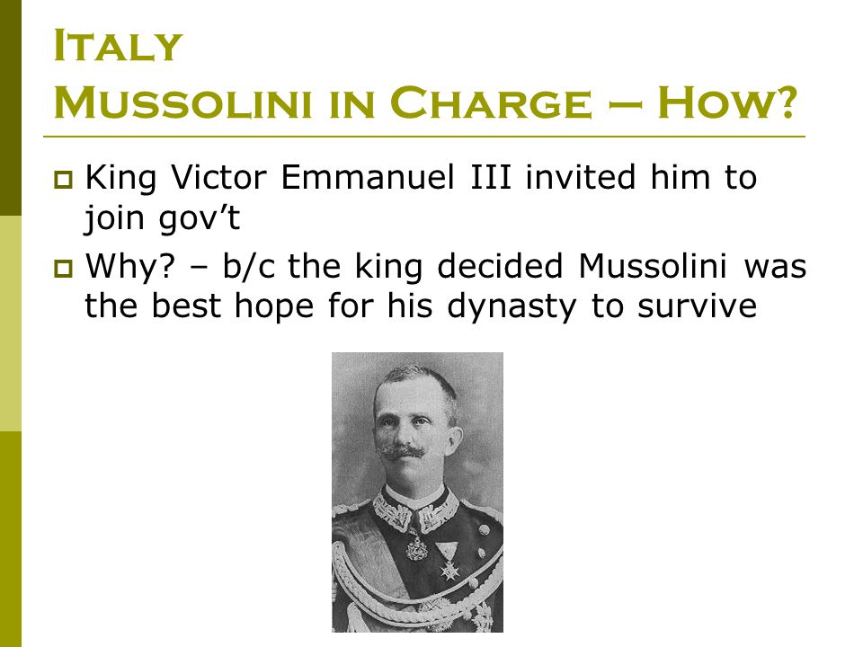 Italy Mussolini in Charge – How