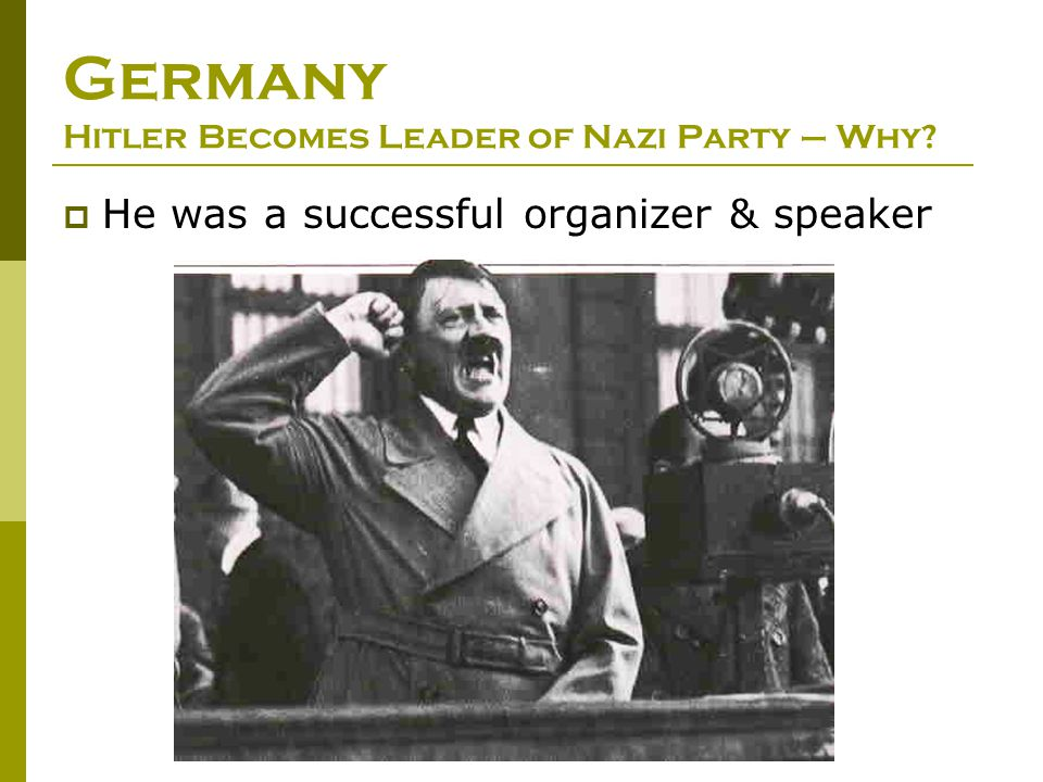Germany Hitler Becomes Leader of Nazi Party – Why
