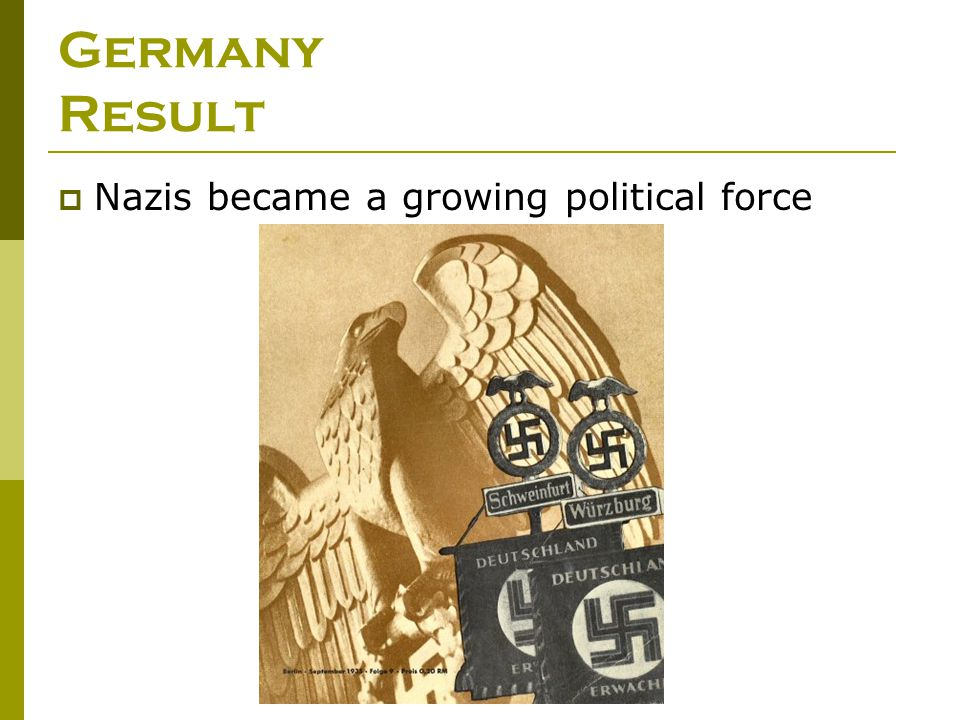 Germany Result Nazis became a growing political force