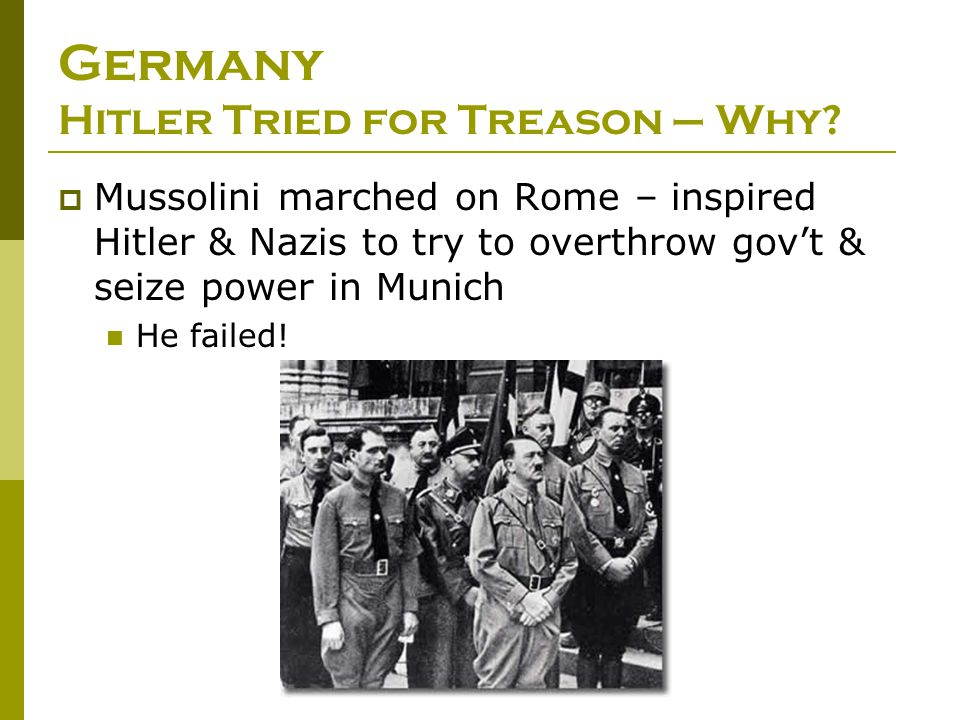 Germany Hitler Tried for Treason – Why