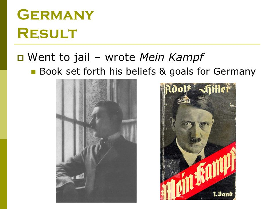 Germany Result Went to jail – wrote Mein Kampf