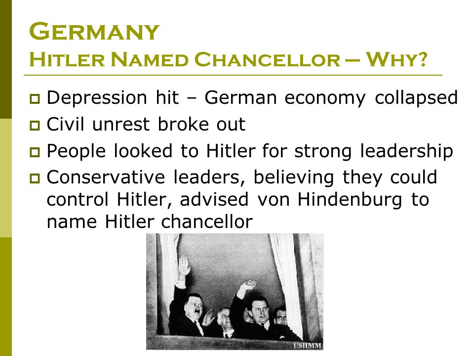 Germany Hitler Named Chancellor – Why