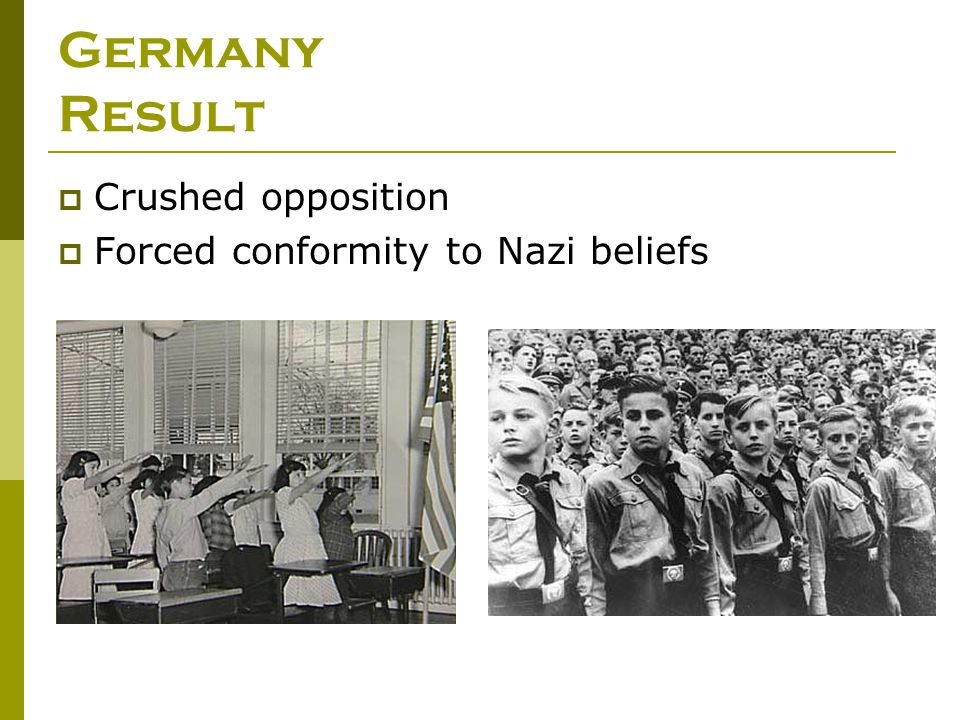 Germany Result Crushed opposition Forced conformity to Nazi beliefs
