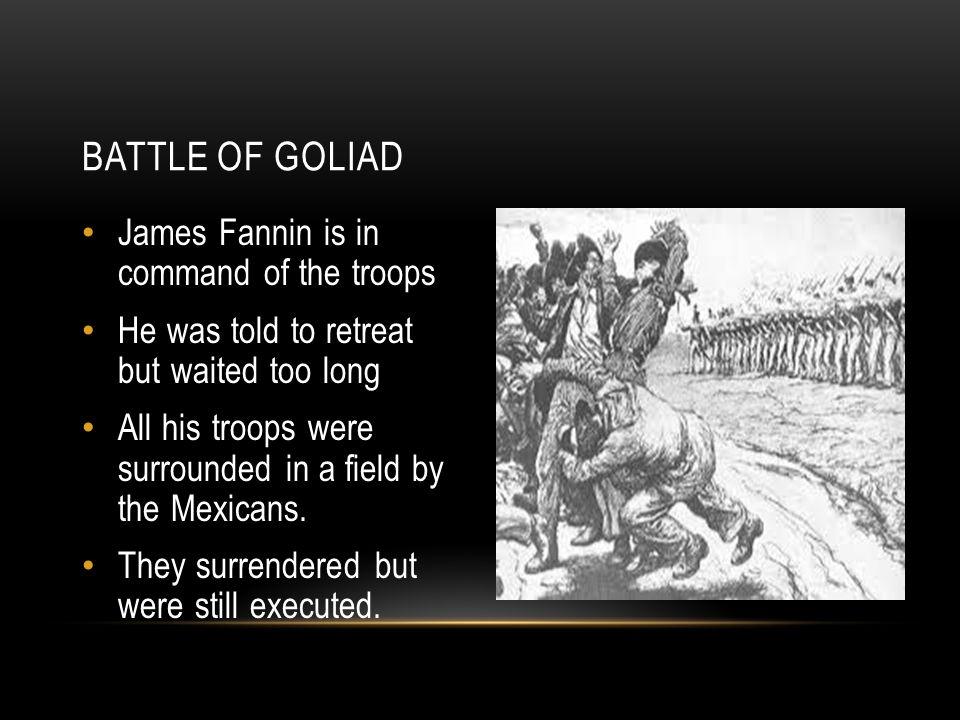 Battle of Goliad James Fannin is in command of the troops