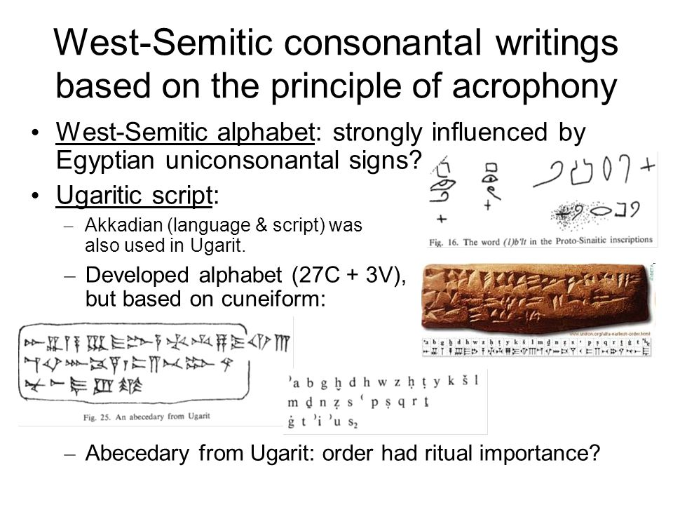 West-Semitic consonantal writings based on the principle of acrophony
