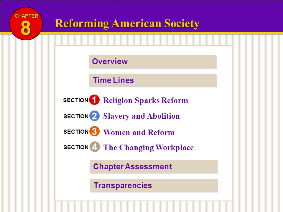 8 Reforming American Society 1 2 3 4 Religion Sparks Reform