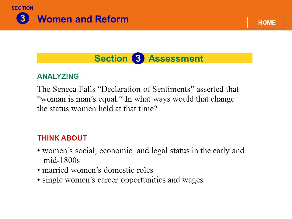 3 Women and Reform 33 Section Assessment