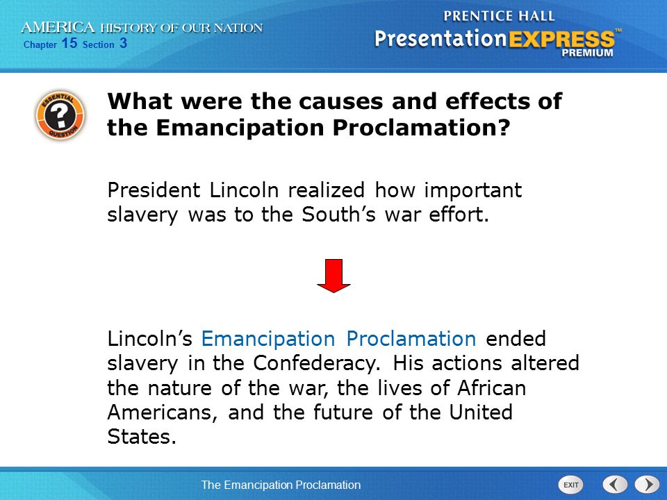 What were the causes and effects of the Emancipation Proclamation
