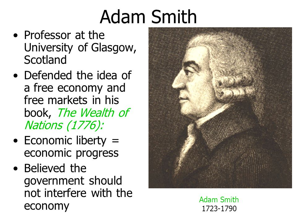 Adam Smith Professor at the University of Glasgow, Scotland