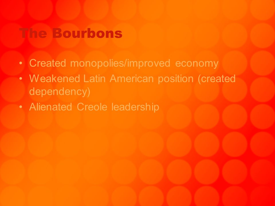 The Bourbons Created monopolies/improved economy