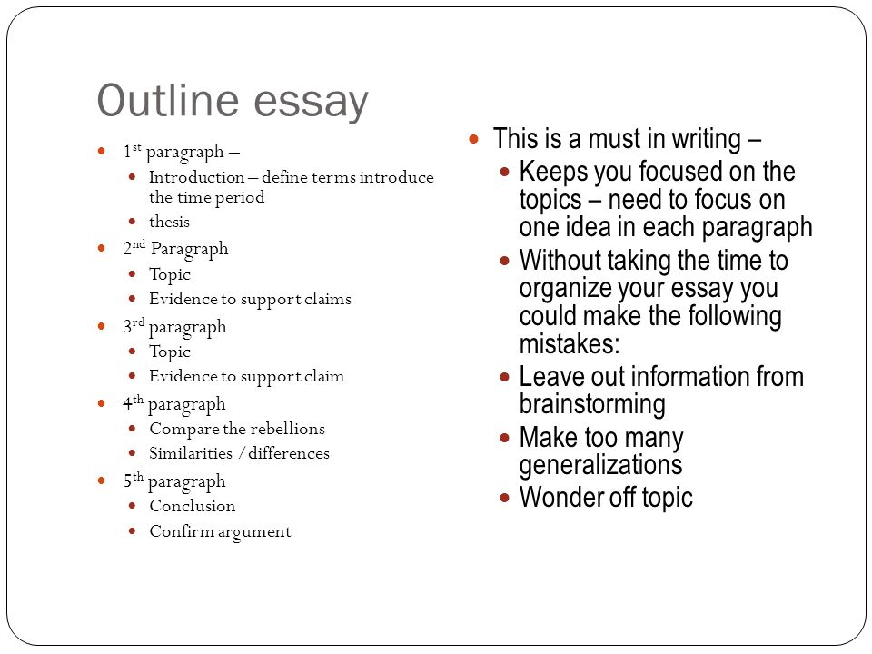 Outline essay This is a must in writing –