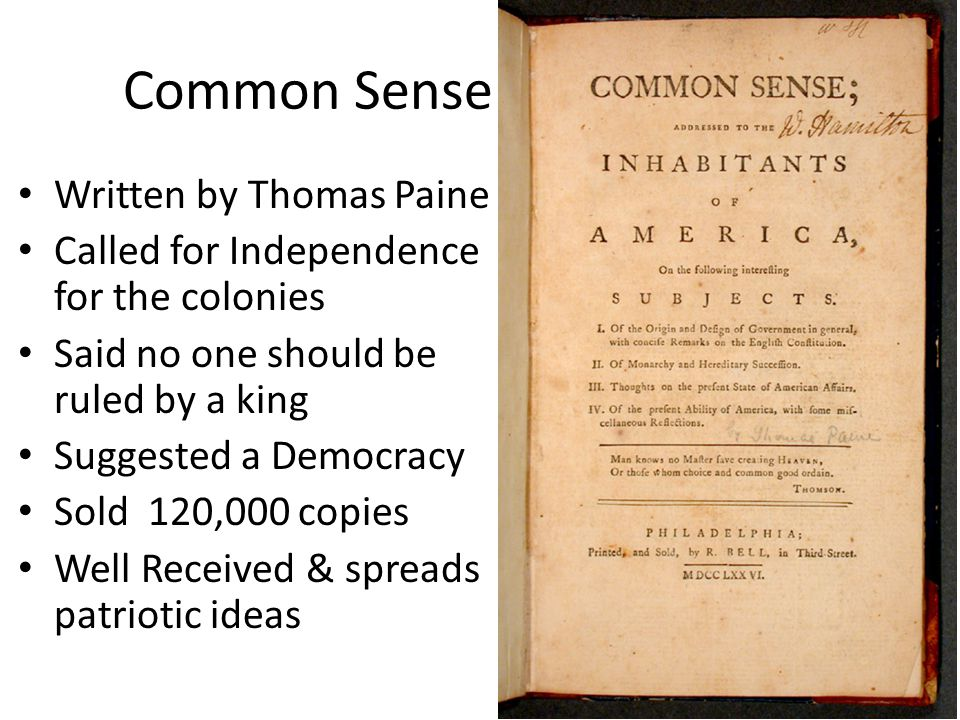 Common Sense Written by Thomas Paine