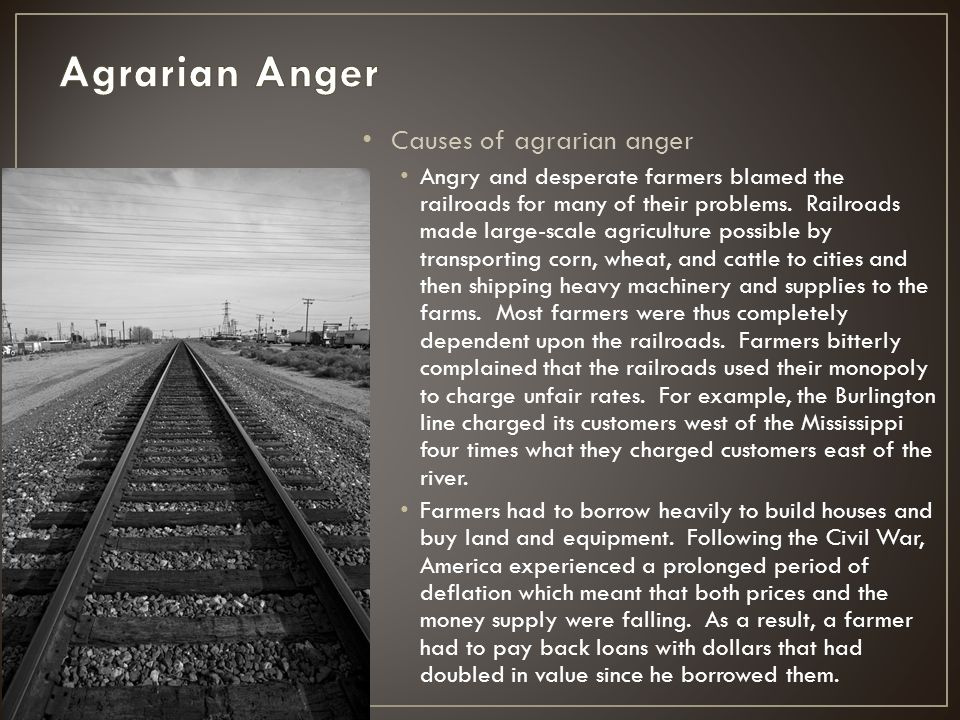Agrarian Anger Causes of agrarian anger