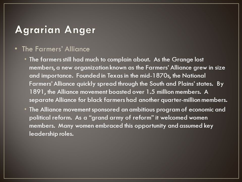 Agrarian Anger The Farmers' Alliance