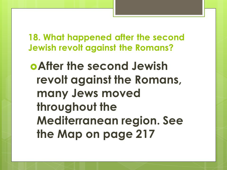 18. What happened after the second Jewish revolt against the Romans