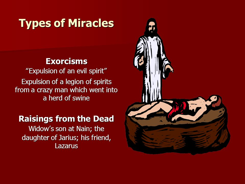 Types of Miracles Exorcisms Raisings from the Dead