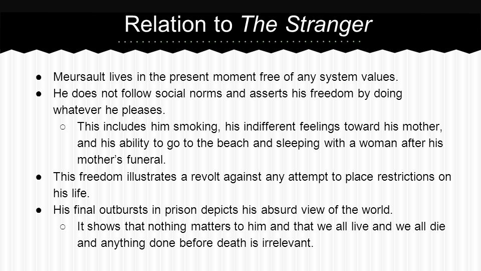 Relation to The Stranger