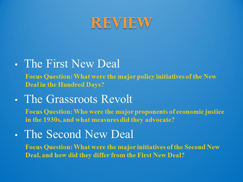 Review The First New Deal The Grassroots Revolt The Second New Deal
