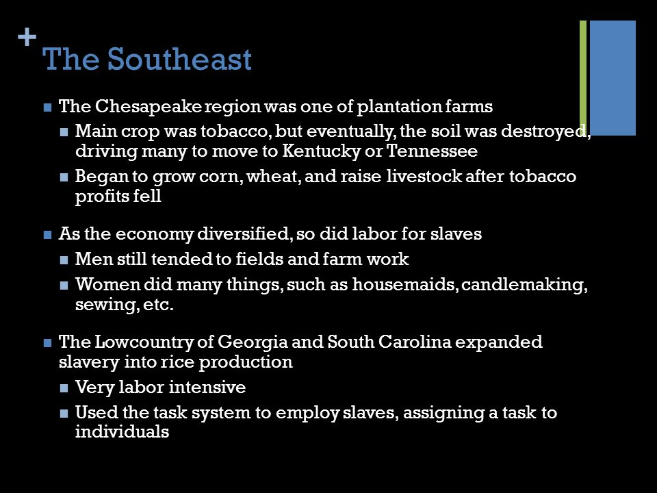 The Southeast The Chesapeake region was one of plantation farms