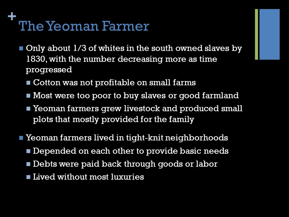 The Yeoman Farmer Only about 1/3 of whites in the south owned slaves by 1830, with the number decreasing more as time progressed.