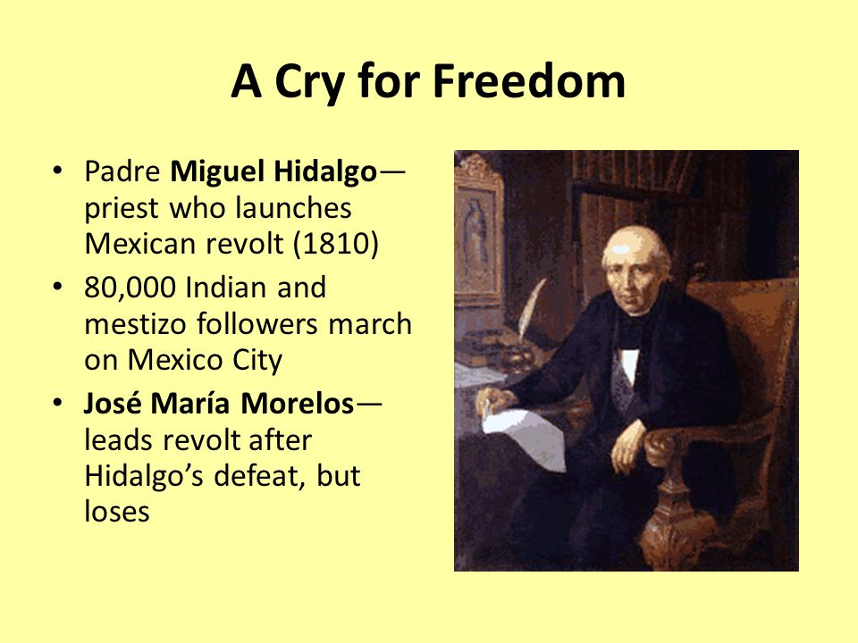 A Cry for Freedom Padre Miguel Hidalgo—priest who launches Mexican revolt (1810) 80,000 Indian and mestizo followers march on Mexico City.