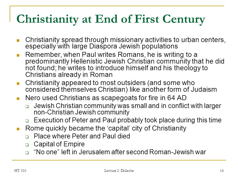 Christianity at End of First Century