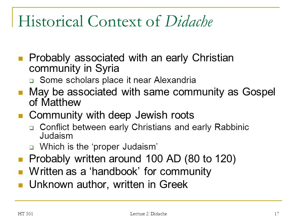 Historical Context of Didache
