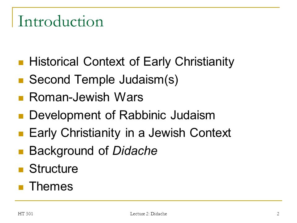 Introduction Historical Context of Early Christianity