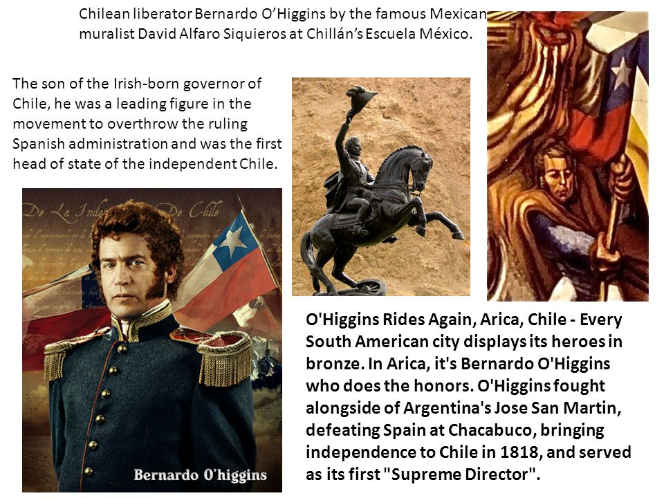 Chilean liberator Bernardo O'Higgins by the famous Mexican muralist David Alfaro Siquieros at Chillán's Escuela México.