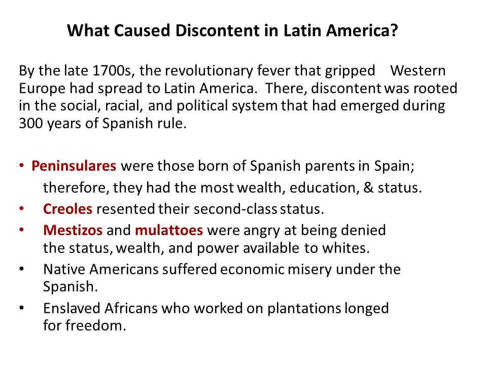 What Caused Discontent in Latin America