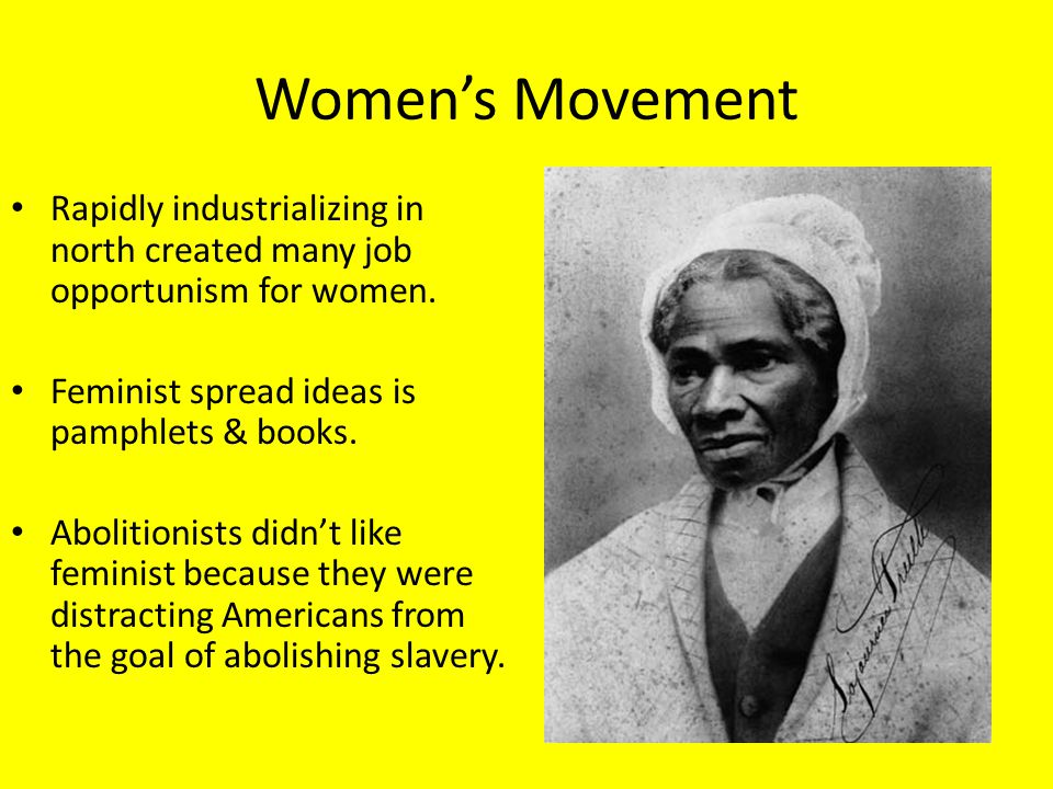 Women's Movement Rapidly industrializing in north created many job opportunism for women. Feminist spread ideas is pamphlets & books.