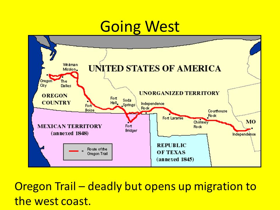 Going West Oregon Trail – deadly but opens up migration to the west coast.