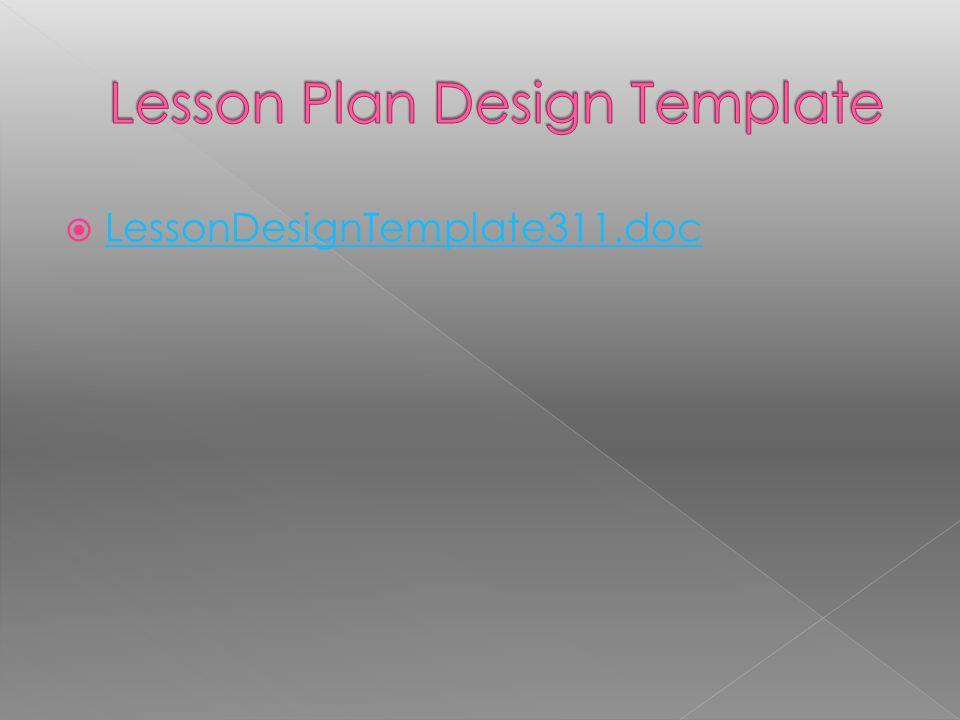 Lesson Plan Design Template