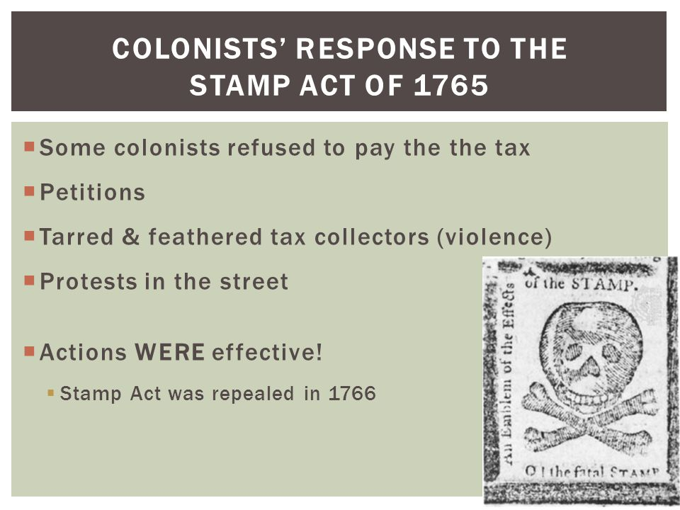 Colonists' Response to the Stamp Act of 1765