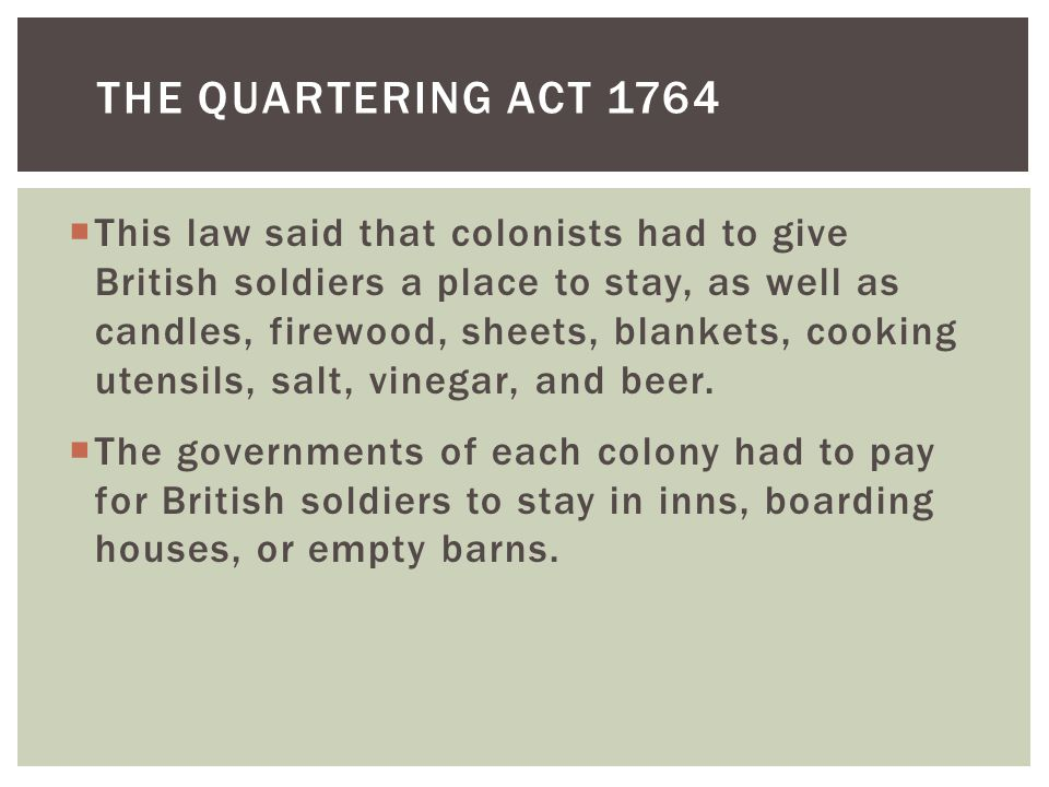 The Quartering Act 1764