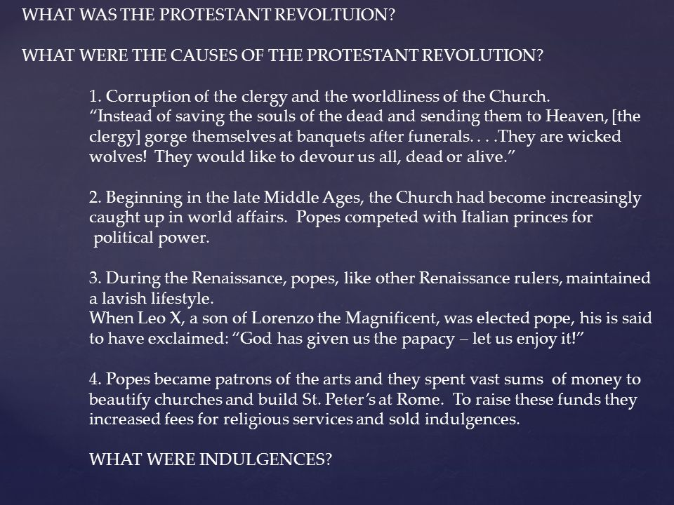WHAT WAS THE PROTESTANT REVOLTUION