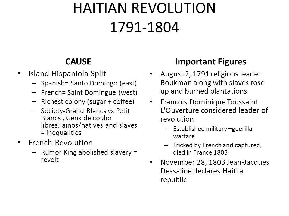 causes of the haitian revolution 1791 1804 The haitian revolution(1791 – 1804)  discuss the causes and impacts of the haitian revolution  the haitian revolution is the only_____ in history .