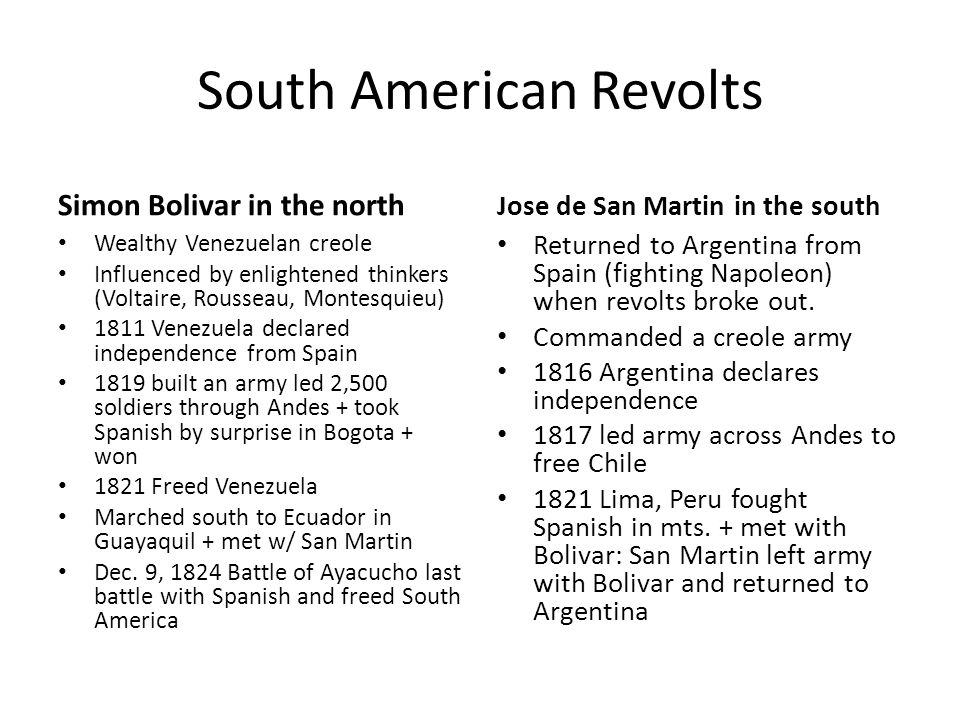 South American Revolts