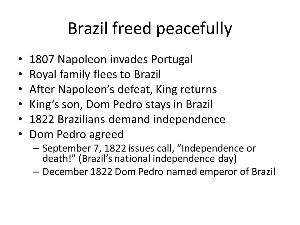 Brazil freed peacefully
