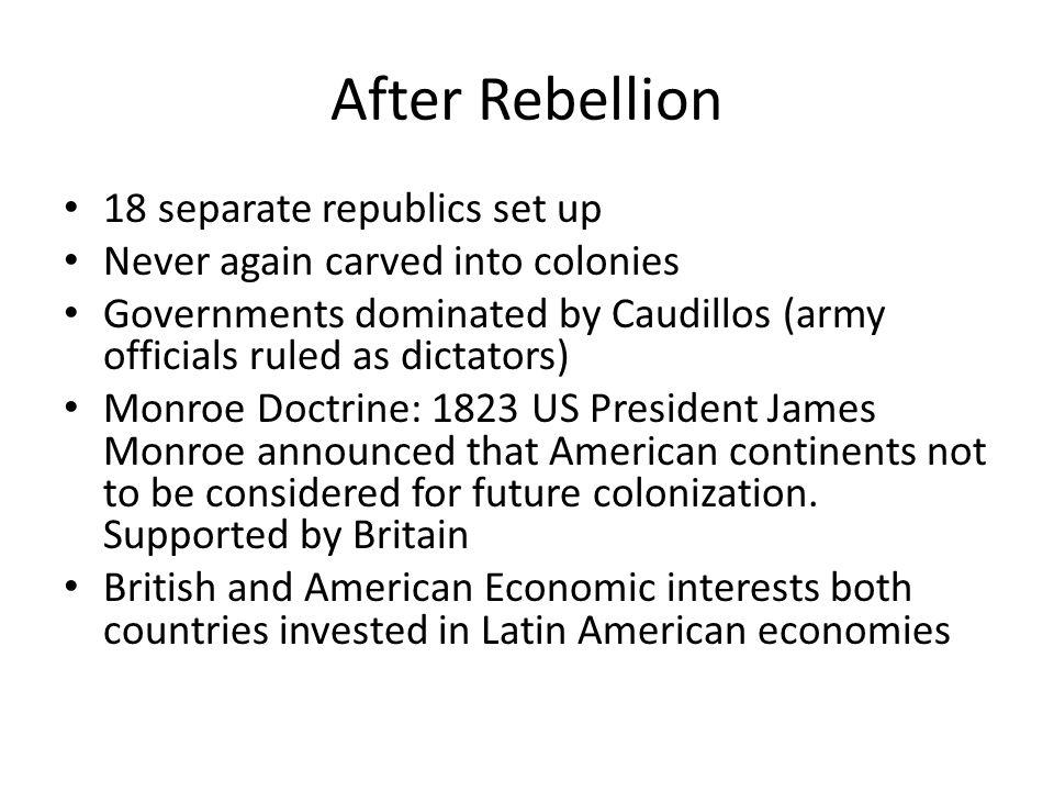 After Rebellion 18 separate republics set up