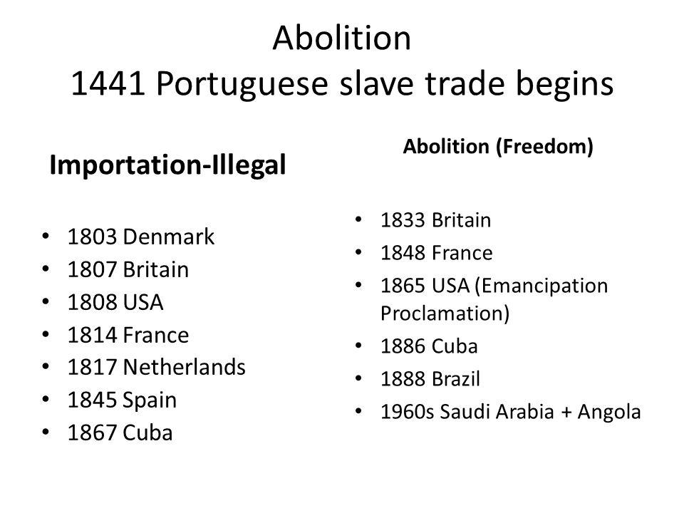 Abolition 1441 Portuguese slave trade begins