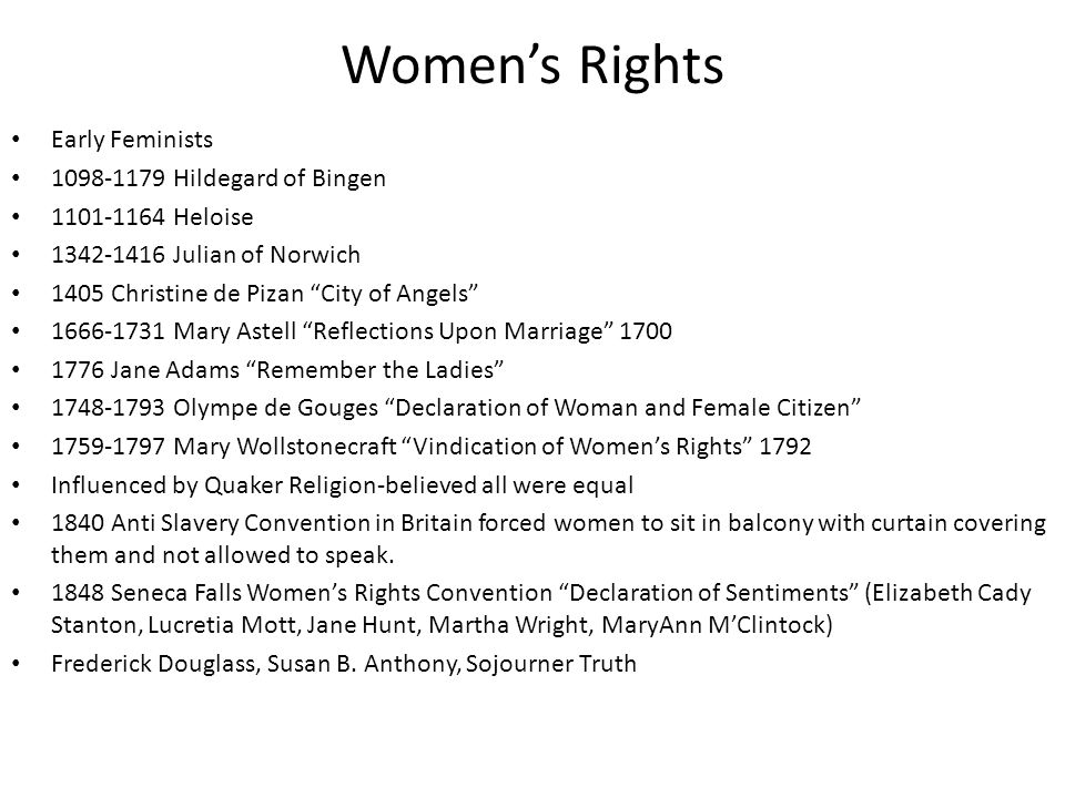 Women's Rights Early Feminists 1098-1179 Hildegard of Bingen