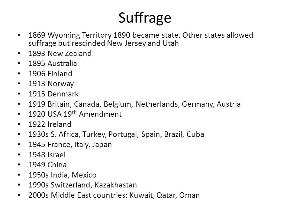 Suffrage 1869 Wyoming Territory 1890 became state. Other states allowed suffrage but rescinded New Jersey and Utah.