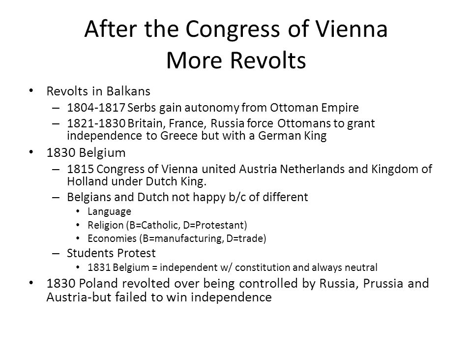 After the Congress of Vienna More Revolts