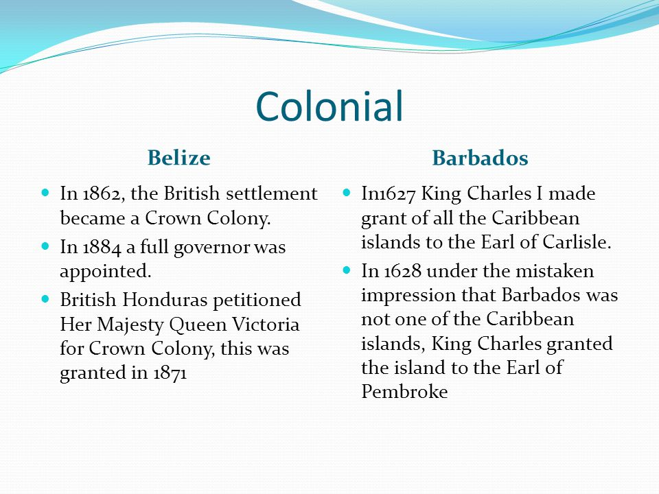 Colonial Belize Barbados