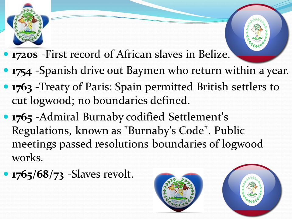 1720s -First record of African slaves in Belize.