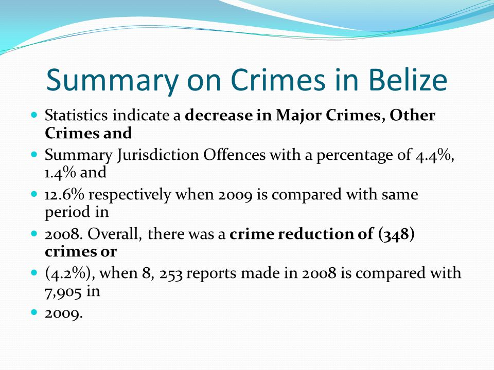 Summary on Crimes in Belize