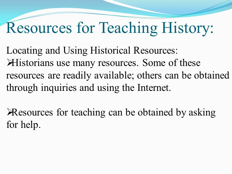 Resources for Teaching History: